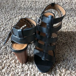 """BAMBOO Shoes - Bamboo - Black 4"""" Strappy Heels"""
